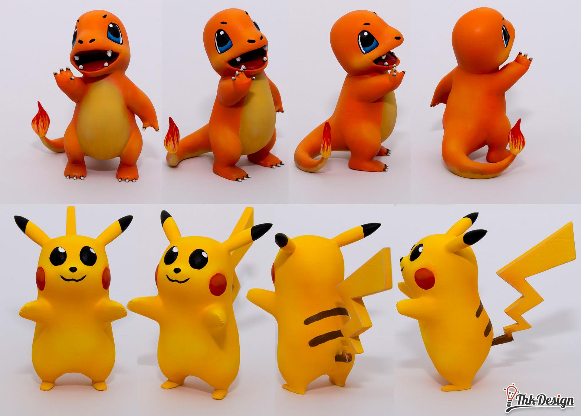 Die fertigen Pokemon Glumanda und Pikachu