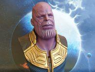Marvelbösewicht Thanos als 3D gedruckte Büste. Bemalt von mir